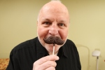 Pat Lewis with chocolate mustache
