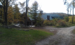 Back view of The Barn at dusk