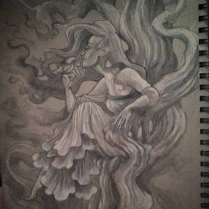 Fairy and her pet-Toned Sketchbook with White charcoal &pencil